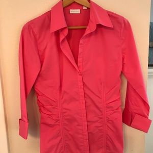 Bright pink button up shirt with rouching
